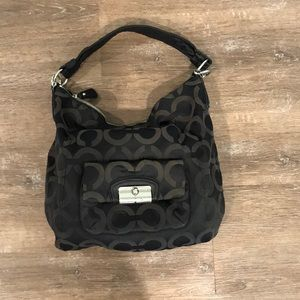 Coach Black Monogram Hobo Style Bag